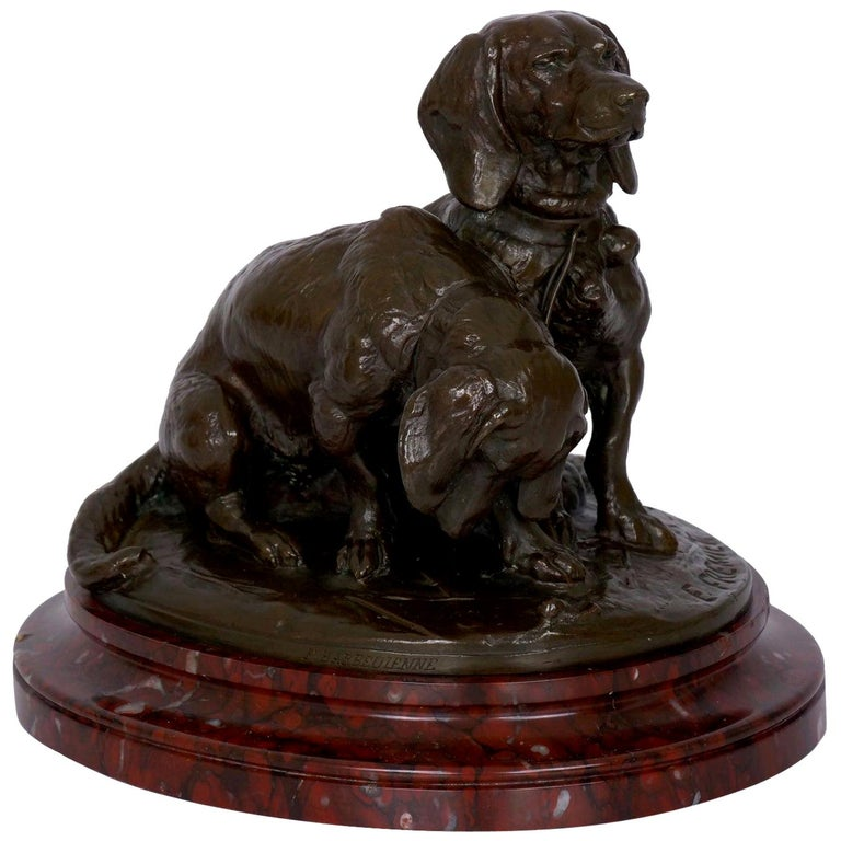 French Antique Bronze Sculpture of Basset Hounds by E. Fremiet & Barbedienne For Sale