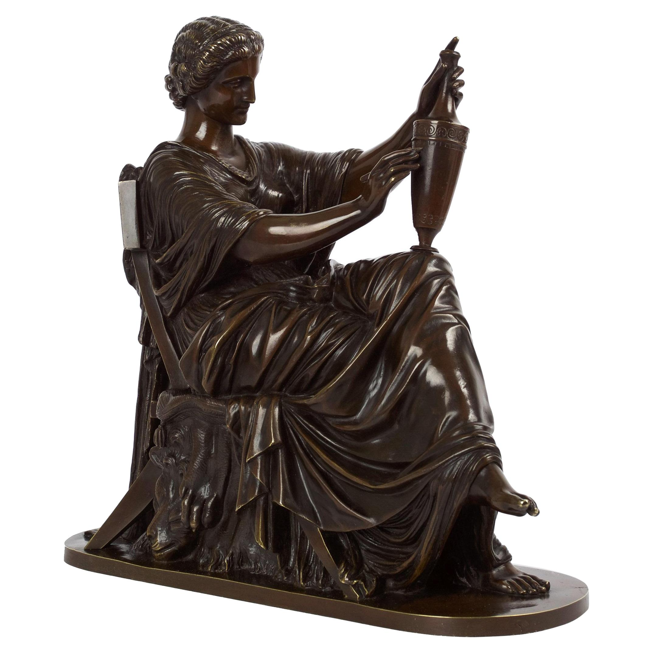 """French Antique Bronze Sculpture of """"Etruscan Art"""" by Victor Simyan, circa 1870"""