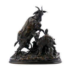 French Antique Bronze Sculpture of Goat & Kid by Pierre-Jules Mêne, 19th Century