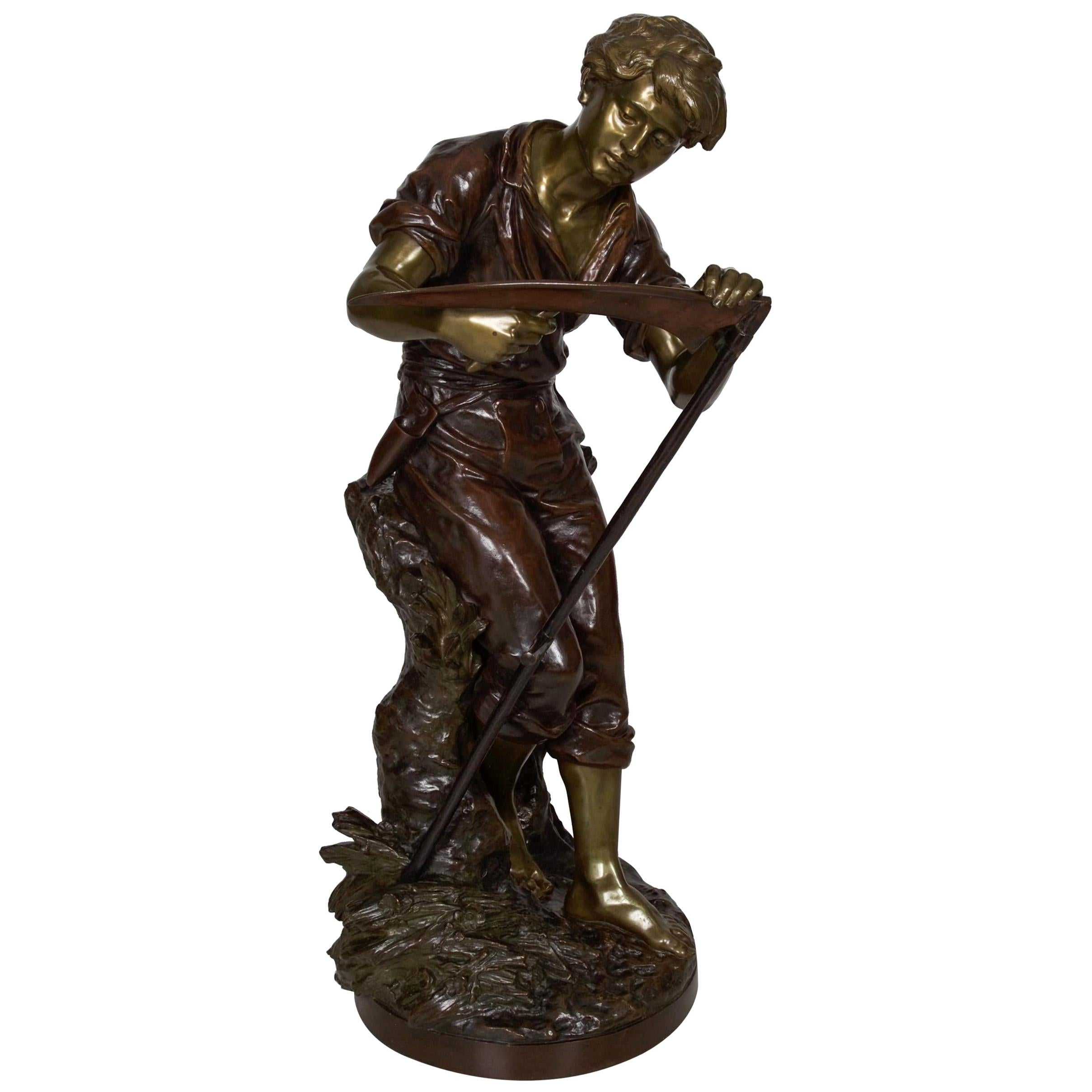 """French Antique Bronze Sculpture of """"Harvester"""" by Mathurin Moreau"""