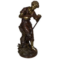 "French Antique Bronze Sculpture of ""Harvester"" by Mathurin Moreau"