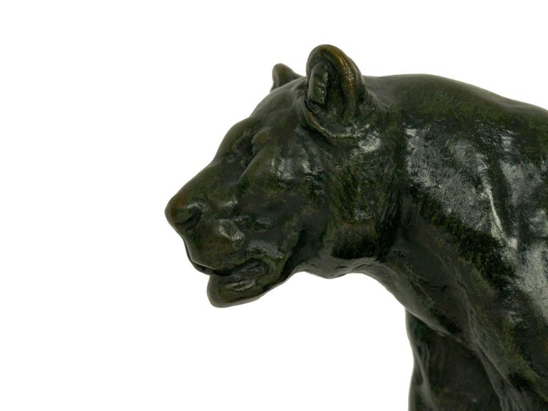 19th Century French Antique Bronze Sculpture of Marching Lion by Paul Edouard Delabrierre For Sale
