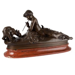 French Antique Bronze Sculpture of Satyr Pan with Bear Cubs by Emmanuel Fremiet