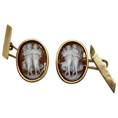 French Antique Cameo Cufflinks in 18 Karat Yellow Gold Featuring Two Muses