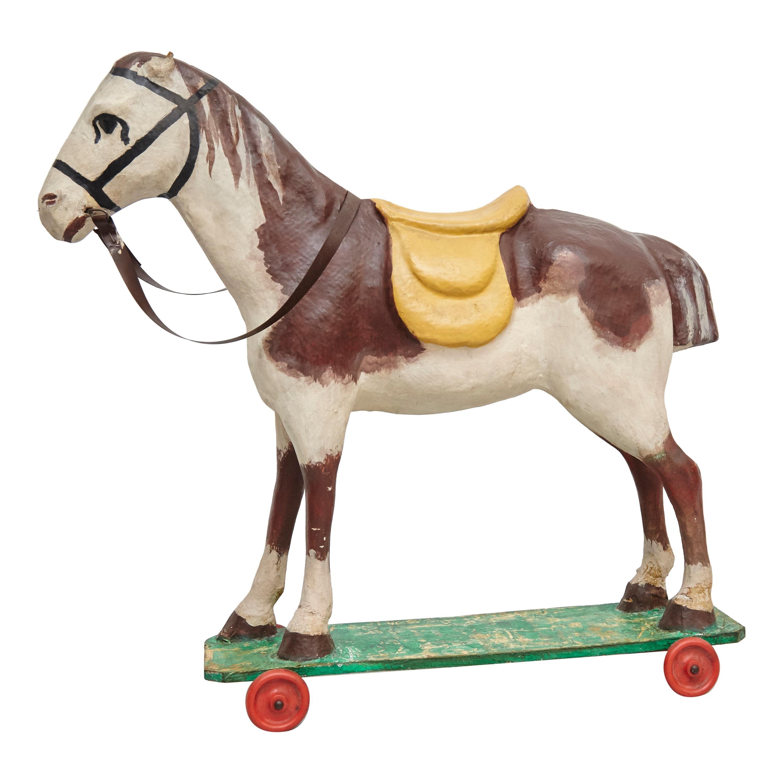 French Antique Cardboard Children's Horse, circa 1950
