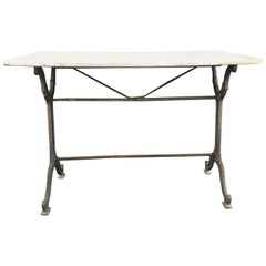 French Antique Carrara Marble and Iron Cafe or Bistro Table or Desk