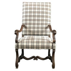 French Antique Carved Walnut Chair with Beautiful New Tartan Upholstery