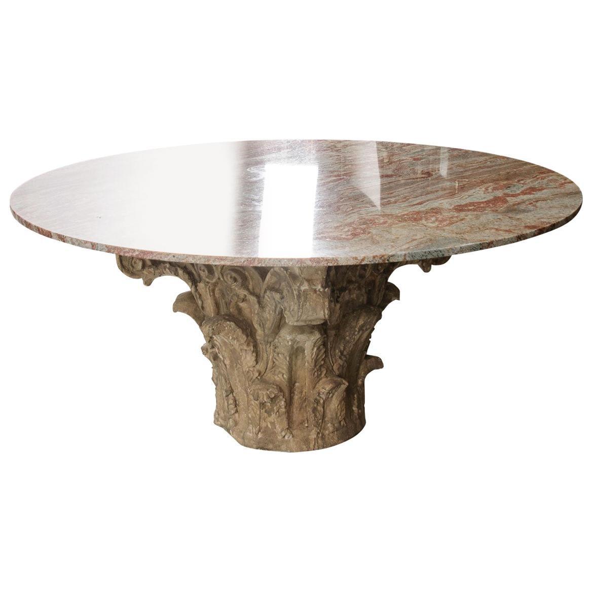 French Antique Cast Concrete Table Base