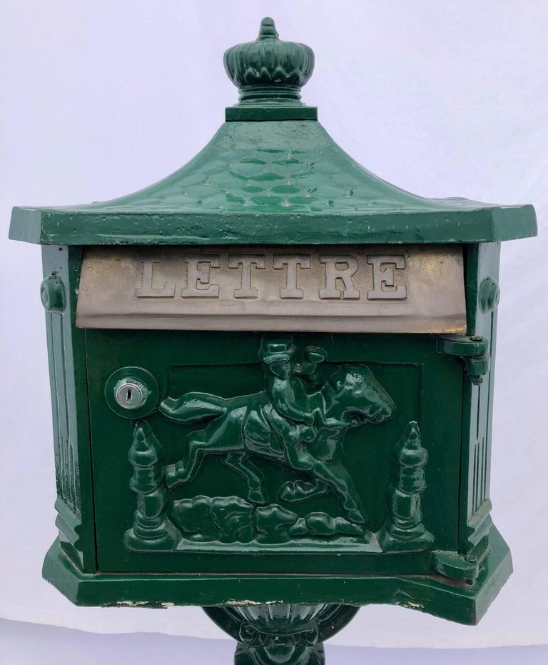 Antique Furniture Suppliers Mail: French Antique Cast Iron Standing Mailbox With Slot Marked