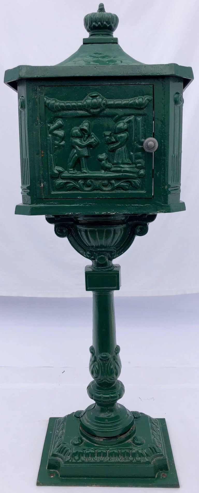 French Antique Cast Iron Standing Mailbox With Slot Marked