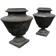 French Antique Cast Iron Urns, circa 1870