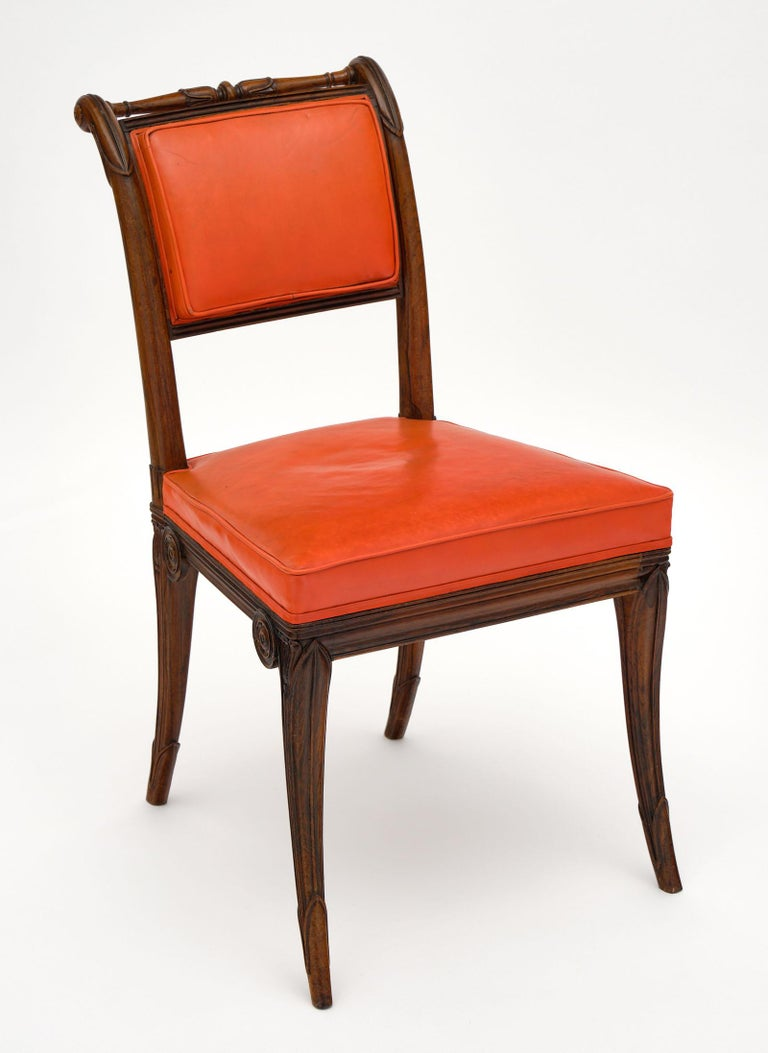 Hand-Carved French Antique Charles X Style Dining Chairs For Sale