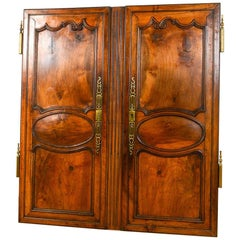 French Antique Chestnut Double Cupboard Doors, 20th Century