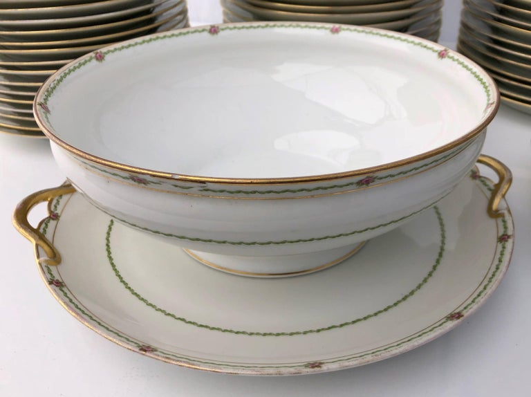 Napoleon III French Antique China Set 94 Pieces, White with Gold Trim and Roses, Early 1900s For Sale