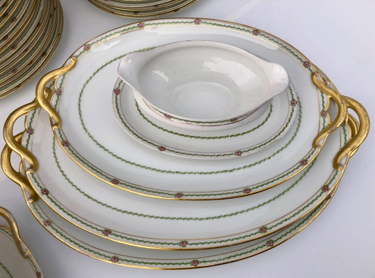 French Antique China Set 94 Pieces, White with Gold Trim and Roses, Early 1900s In Fair Condition For Sale In Petaluma, CA