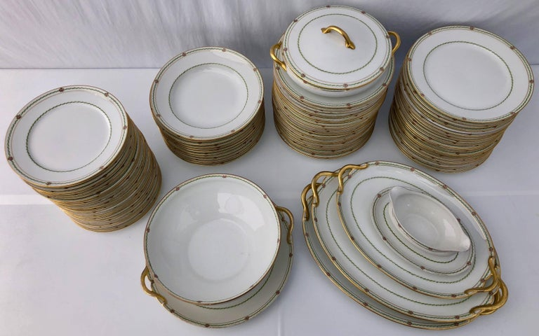 20th Century French Antique China Set 94 Pieces, White with Gold Trim and Roses, Early 1900s For Sale