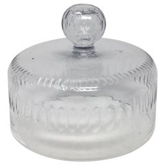 French Antique Cut Glass Dome, Cloche with Solid Glass Knob Handle