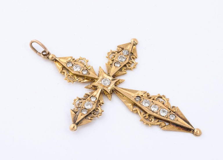 Art Nouveau French Antique Diamond and Gold Cross For Sale