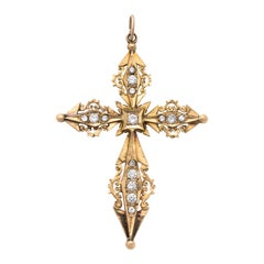 French Antique Diamond and Gold Cross