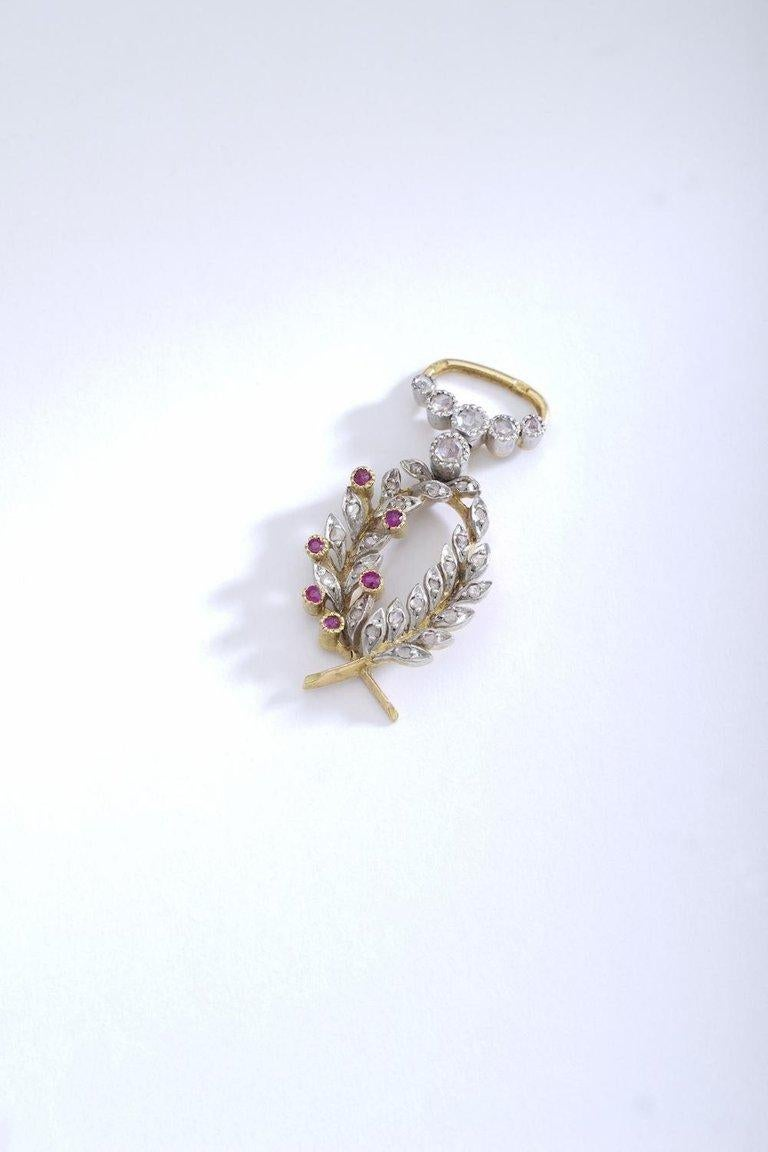Women's or Men's French Antique Diamond Ruby Pearl Platinum and Gold Pendant Charm For Sale