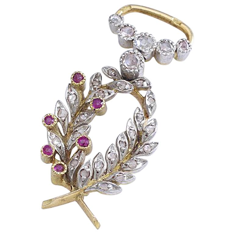 French Antique Diamond Ruby Pearl Platinum and Gold Pendant Charm For Sale