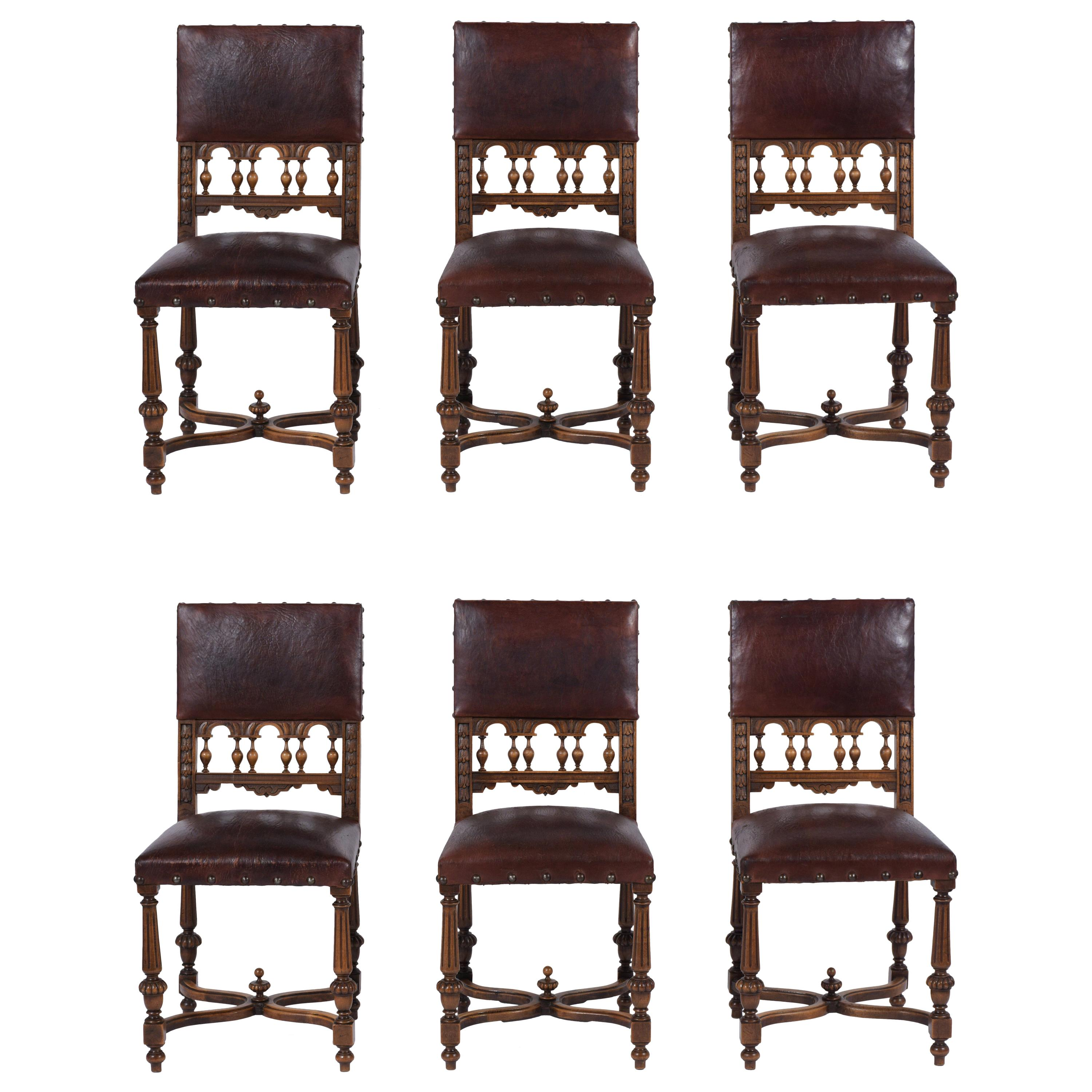 19th Century Leather Dining Chairs