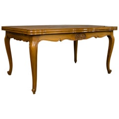French, Draw Leaf Dining Table, Beech, Extending, Louis XV Revival, circa 1930