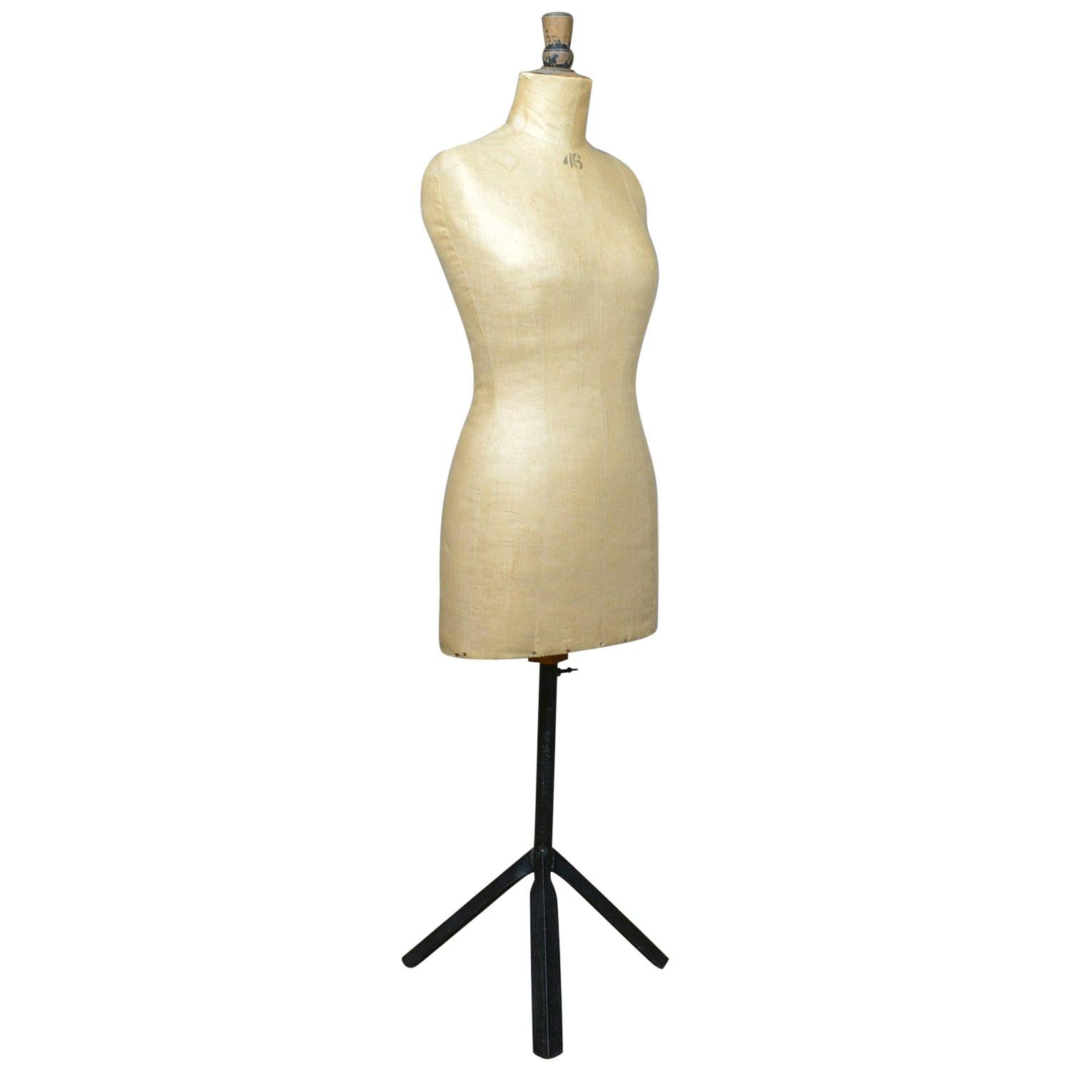 French Antique Dress Makers Dummy, Adjustable Height, Three-Quarter, circa 1900