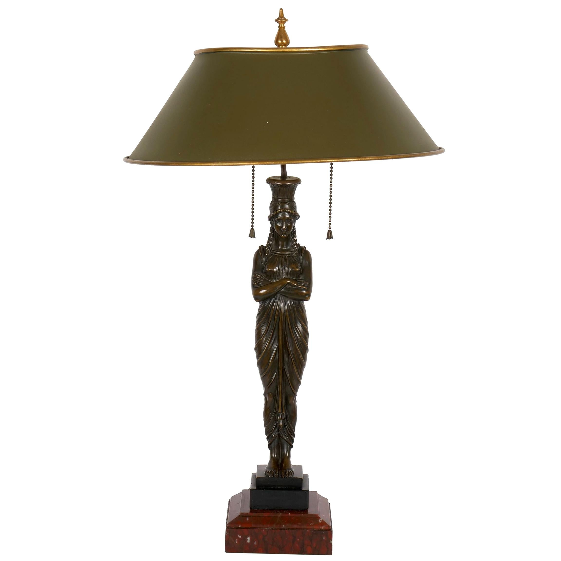 French Antique Egyptian Figural Bronze Sculpture Lamp Light with Tole Shade