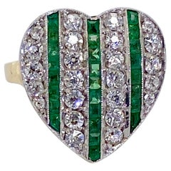 French Antique Emerald and Diamond Heart Ring