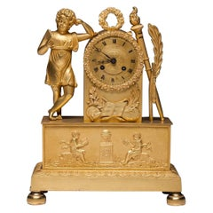 French Antique Empire Gilt Bronze Mantel Clock circa 1820