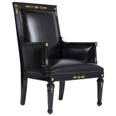 French Antique Empire Leather Armchair
