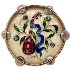 French Antique Enamel Musical Brooch in Yellow Gold, circa 1880