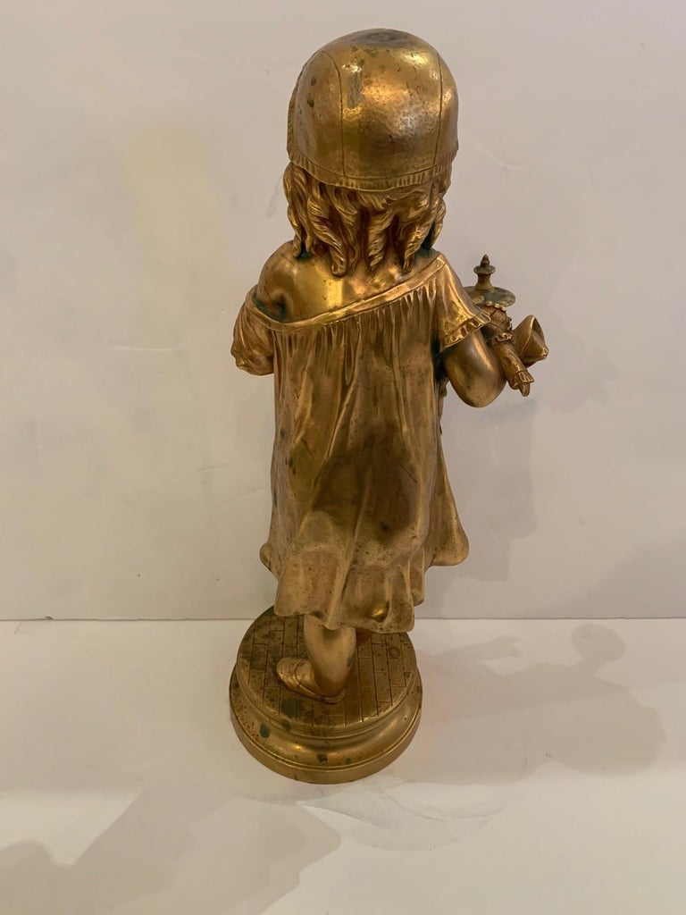 French Antique Figurative Sculpture of Girl by Charles Masse For Sale 5