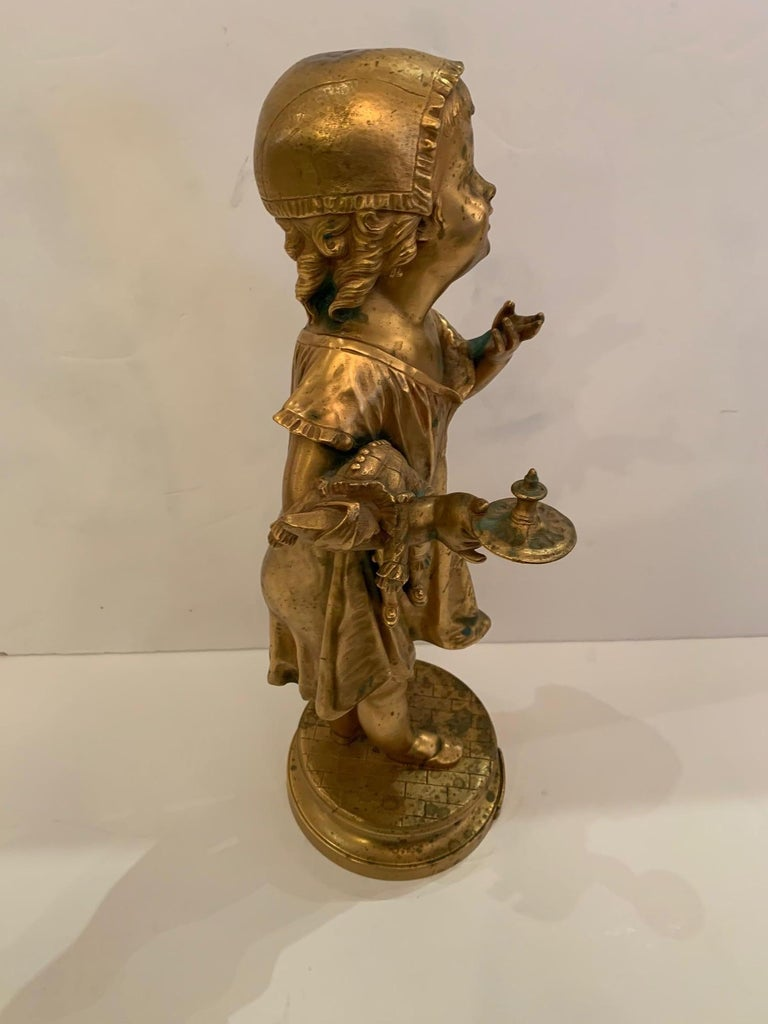French Antique Figurative Sculpture of Girl by Charles Masse For Sale 7