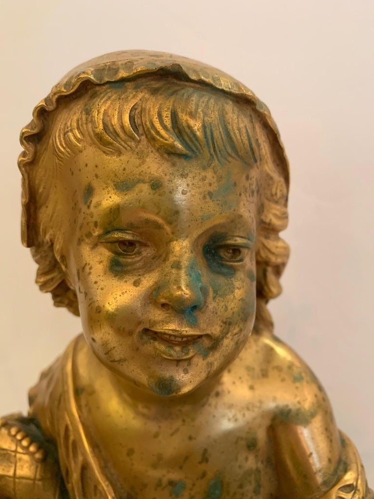 French Antique Figurative Sculpture of Girl by Charles Masse In Good Condition For Sale In Hopewell, NJ