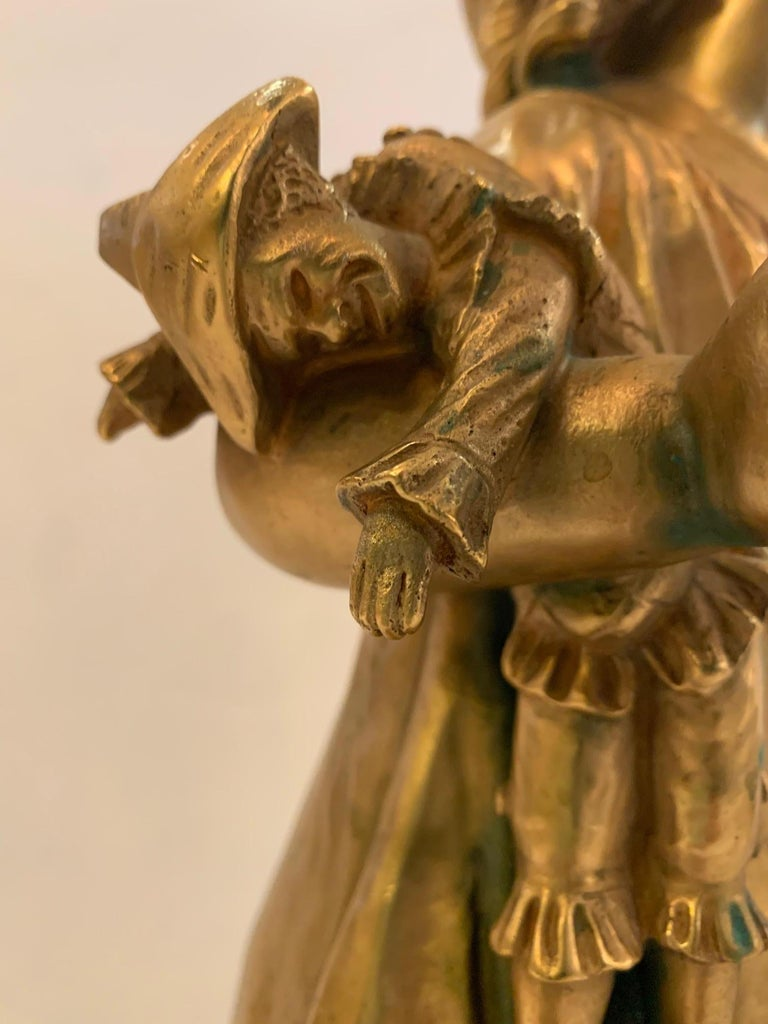 Bronze French Antique Figurative Sculpture of Girl by Charles Masse For Sale