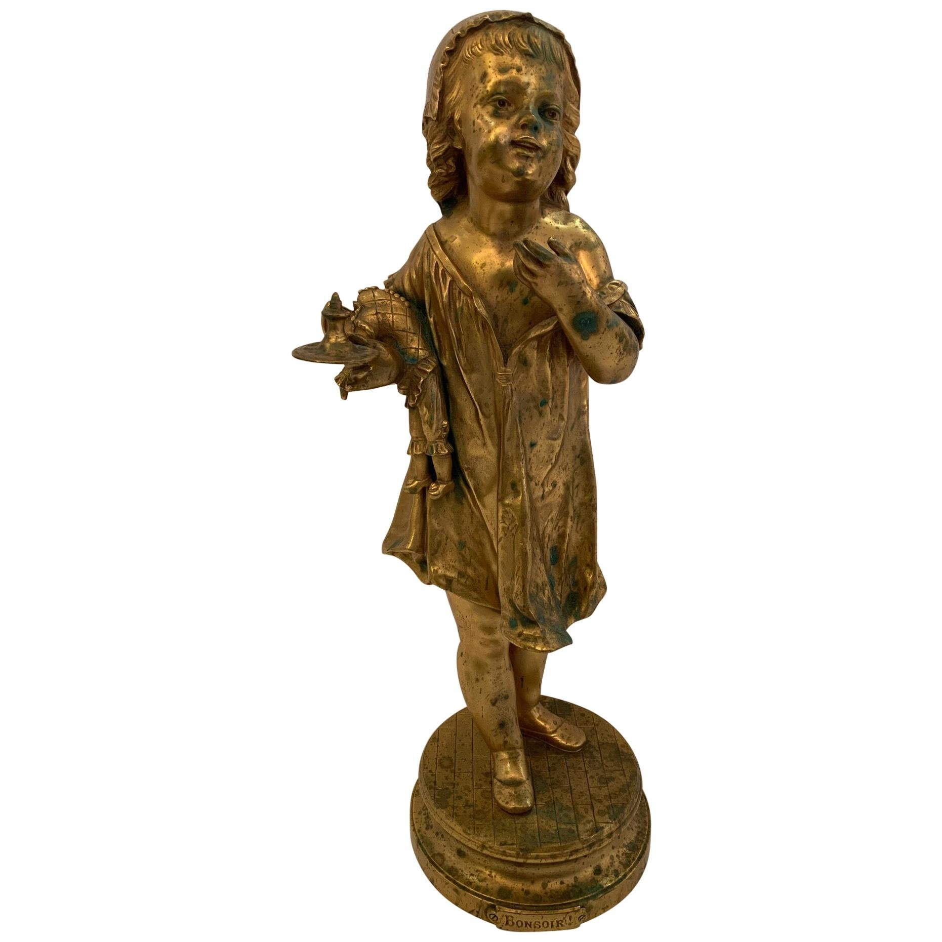 French Antique Figurative Sculpture of Girl by Charles Masse