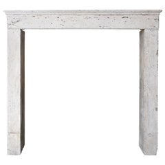 French Antique Fireplace/Mantelpiece of Limestone, 19th Century