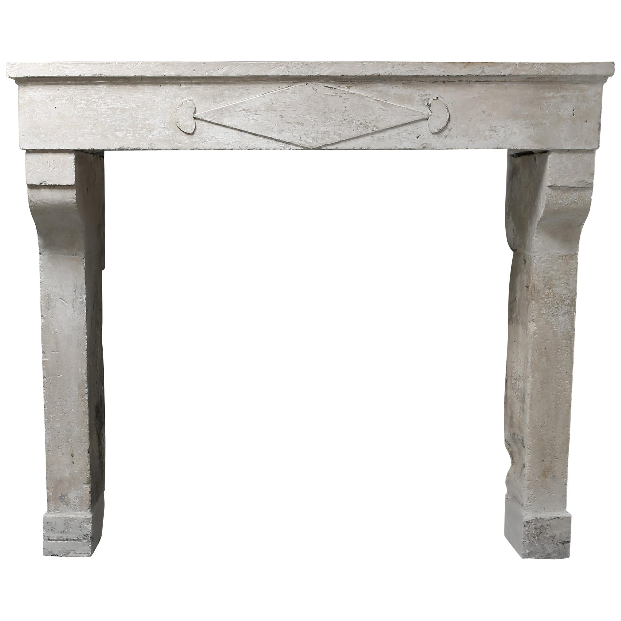 French Antique Fireplace of Limestone, 19th Century, Campagnarde