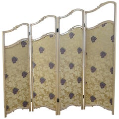 French Antique Folding Screen, Giltwood, Needlepoint, Room Divider, circa 1890