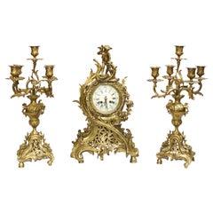 French Antique Gilt Clock Set, Cherub Garniture