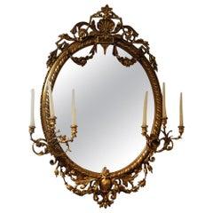 French Antique Gilt Oval Girandole Mirror, circa 1830