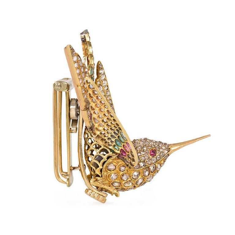 Victorian French Antique Gold Multi-Gemstone En Tremblant Hummingbird Brooch or Hair Comb For Sale