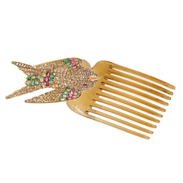 French Antique Gold Multi-Gemstone En Tremblant Hummingbird Brooch or Hair Comb For Sale 1