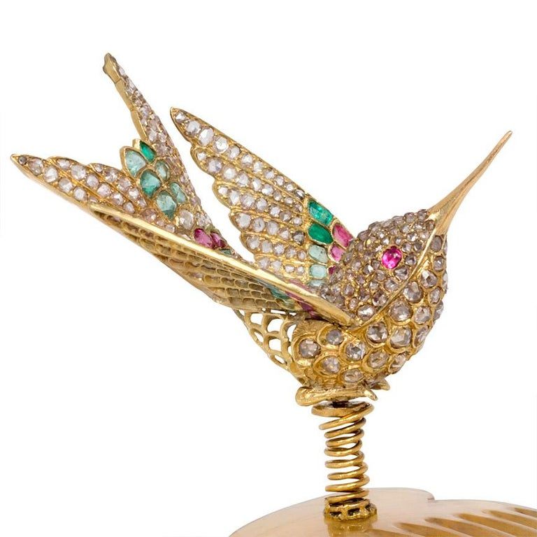 French Antique Gold Multi-Gemstone En Tremblant Hummingbird Brooch or Hair Comb For Sale 2