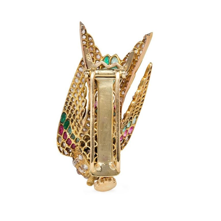 French Antique Gold Multi-Gemstone En Tremblant Hummingbird Brooch or Hair Comb In Good Condition For Sale In New York, NY