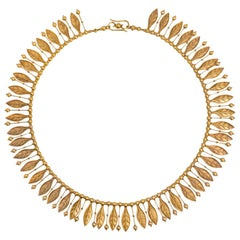 French Antique Gold Etruscan Revival Necklace with Fringe of Leaves