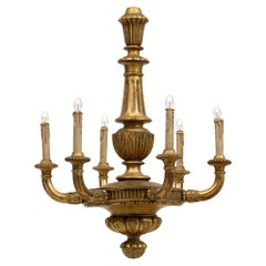 French Antique Gold Leafed Wood Chandelier