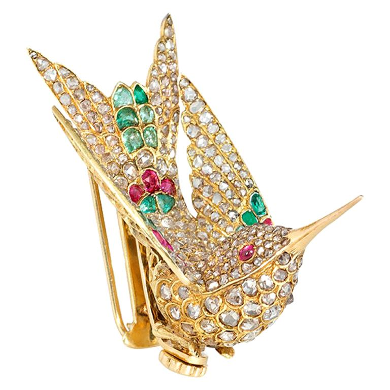 French Antique Gold Multi-Gemstone En Tremblant Hummingbird Brooch or Hair Comb For Sale